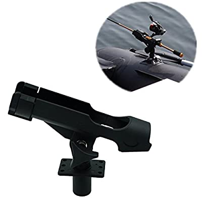 Hiumi® Adjustable Black Finish ABS and Stainless Fishing Rod Holder for Boat, Kayak, pontoon boat with 3 Mount