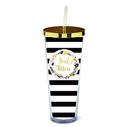 Soul Sisters Floral Wreath Black White Stripes 24 Ounce Straw Tumbler with Goldtone (Sisters Stripe)
