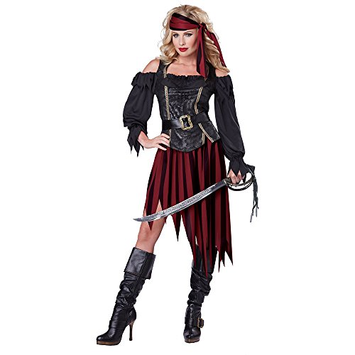 Women Pirate Costumes (California Costumes Women's Queen Of The High Seas Sexy Pirate Swashbuckler Buccaneer, Black/Burgundy, X-Large)