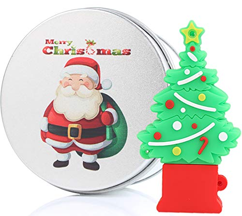 Christmas Tree Santa Gift 32GB USB Flash Drive Memory Stick Data Storage Device & Metal Box Packing Novelty Present (Christmas Flash Drive)