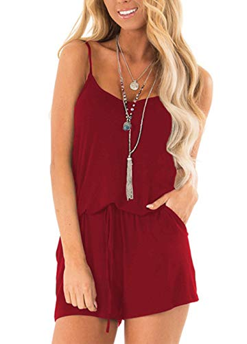 PRETTYGARDEN Women's Summer Casual V Neck Adjustable Spaghetti Strap Waist Drawstring Short Jumpsuit Rompers with Pockets