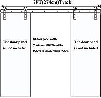 9FT Herraje para Puerta Corredera Kit para Puertas Dobles,Negro J-Forma: Amazon.es: Bricolaje y herramientas
