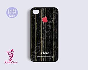 LJF phone case Wooden iphone 4/4s case, iphone 4/4s cover - Night wood design Pink Apple Iphone ...