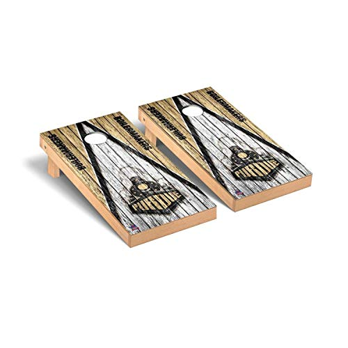 Victory Tailgate Regulation Collegiate NCAA Weathered Triangle Series Cornhole Board Set - 2 Boards, 8 Bags - Purdue Boilermakers