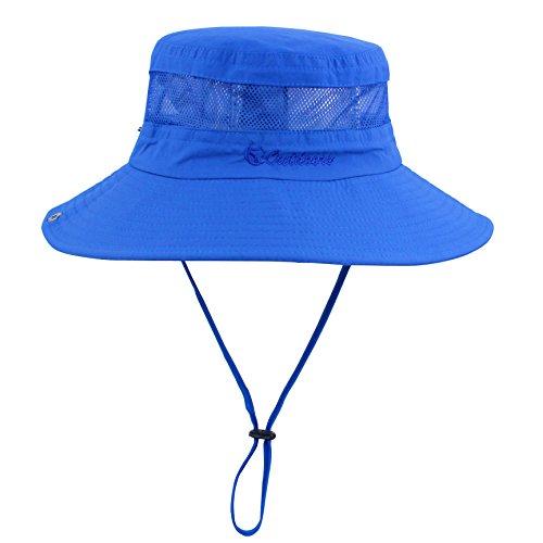Summer Boonie Sun Hat UV Protection UPF50+ Hats Wide Brim Bucket Safari Cap for Men Women Beach Fishing Hunting Hiking Camping Navy Blue