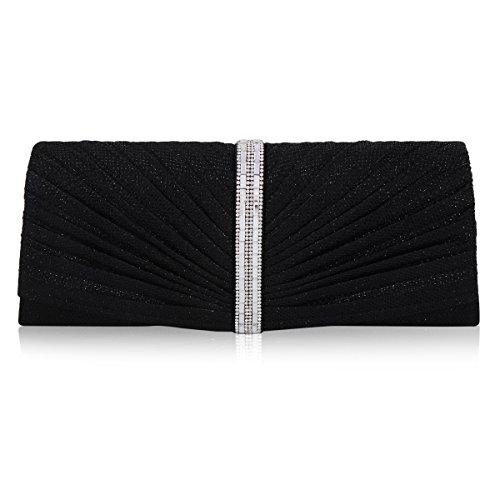 Damara Womens Rectangle Rhinestone Pintuck Cross-body Evening Bag,Black