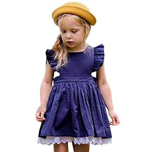WOCACHI Toddler Kids Baby Girls Lace Dresses Ruffle Flutter Sleeve Back Button Decor Solid Color Mini Skirt Pleated Swing Outfits Clothes Sunsuit Onesies 2019 Summer Daughter Birthday Party Sleepwear -