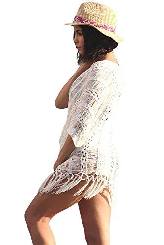 Nuovo donna crema larghe con lacci a maglia cover Up Swimwear Beachwear estate Caftano taglia UK 10–18EU 40–46