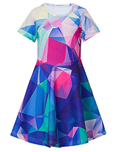 ALISISTER 3D Dress Toddler 6T Girls Casual 90S Graphic Sundress Short Sleeve Soft Vintage Party Outfits Home Summer Wear Crew Neck School Apparel -