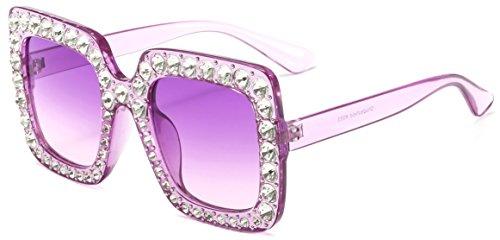 MAOLEN Square Oversized Crystal Women Sunglasses Gradient Shades (square ()