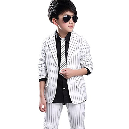 Button Tuxedo Jacket (Happy Cherry Boys Suits Slim Fit Pinstripe Suit Set Tuxedos For Boys Formal Dresswear 2-Pieces White 10)