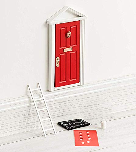 The Red Miniature Tiny Wooden Tooth Fairy Door Birthday Gifts for 3,4,5,6,7 Year Old Girls Boys/Fairy Doors and Accessories Fairy Tale idea Craft Activities for Kids Present.
