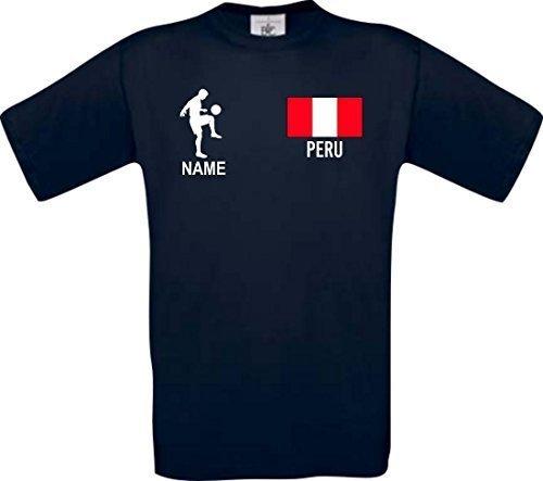 Shirtstown Camiseta De Niño Camiseta de Fútbol Perú Hungría con Su Nombre Deseado Estampado - Azul