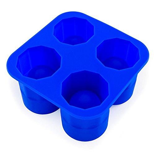 Ice Shot - Gläser, Silikon - Form, 4 Eis- Form, gefrorene Becher, perfekt für Shots, wie Gin, Vodka und Whiskey, Party- Highlight, langlebig, Cookie - Shots, Farbe: Blau