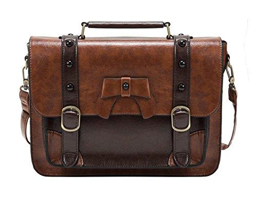 ECOSUSI Vintage Satchel Messenger Purse Girl School Bag