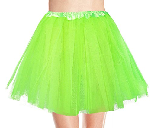 [Women's, Teen, Adult Classic Elastic 3, 4, 5 Layered Tulle Tutu Skirt (One Size, Green 3Layer)] (Green Tutus For Adults)