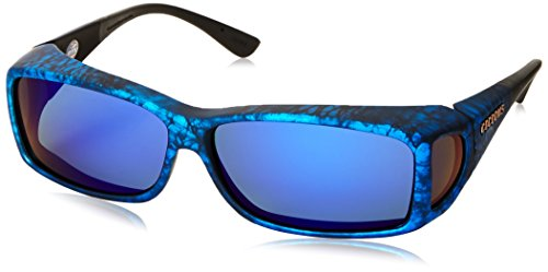 Sunglasses Ink Frame (Cocoons Wide Line ML Rectangular Polarized Sunglasses,Ink Frame & Gray Blue Mirror Lens,63)