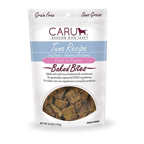 Caru – Tuna Recipe, Soft 'N Tasty Baked Bites All-Natural Dog Treats, Made With Real Tuna, Blueberries And Cranberries (4 Oz) For Sale
