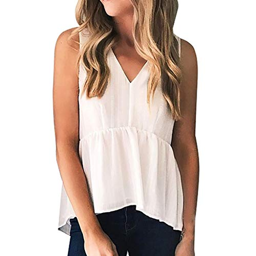 Sunhusing Women's Sleeveless Deep V-Neck Solid Color Vest Top Summer Holiday Casual Shirts Tank Tops White