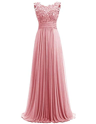 JINGDRESS Women Beaded Sparkly Bridesmaid Dresses Sleeveless Chiffon Long Evening Cocktail Dresses with Pleats Dusty Rose