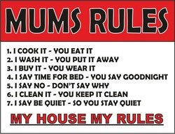 4770 MUM'S RULES MY HOUSE MY RULES FUNNY VINTAGE STYLE METAL