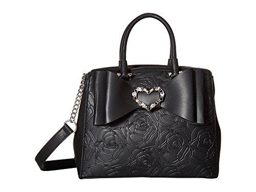Belted Shopper Handbag (Betsey Johnson Womens Belted Bow Satchel Black One Size)