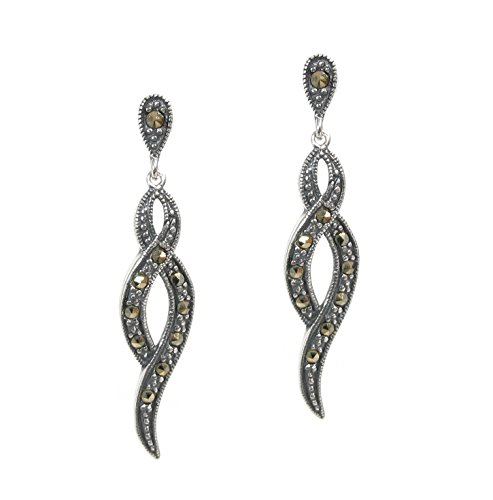 Sterling Silver Infinity Love Twist Ribbon Dangle Earring with Marcasite Stud Post ()