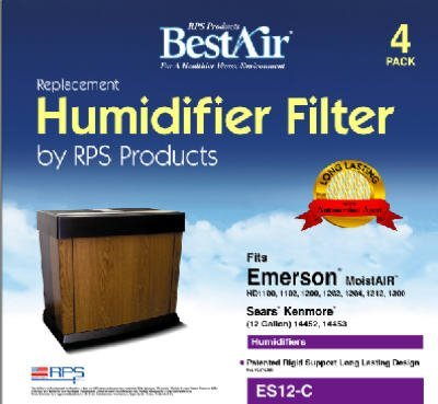 RPS BestAir ES12-C 4 Pack Extended Life Humidifier Wick Filter - Quantity 5