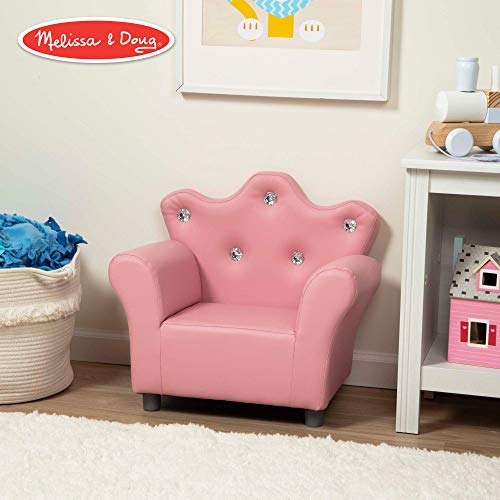 Princess Chair - Melissa & Doug Child's Crown Armchair, Pink Faux Leather Children's Furniture (Armchair for Kids, Sturdy Construction, 17.5