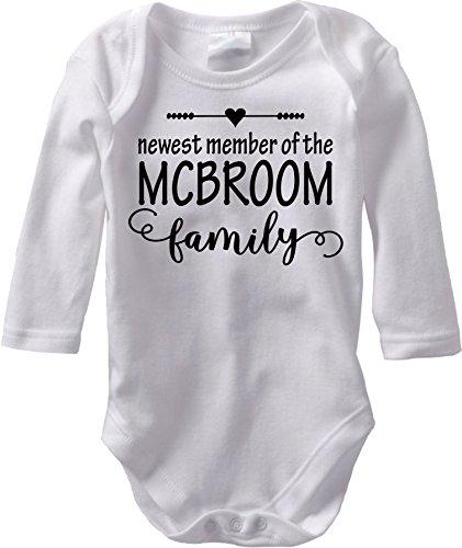 The Newest Member - Custom Baby Name Birth Announcement (Newborn Long Sleeve Bodysuit, Black Heart)