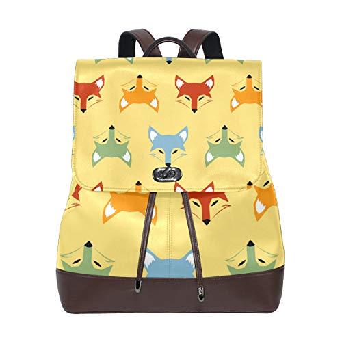 FAJRO Colorful Fox Heads Travel Backpack Leather Handbag School Pack