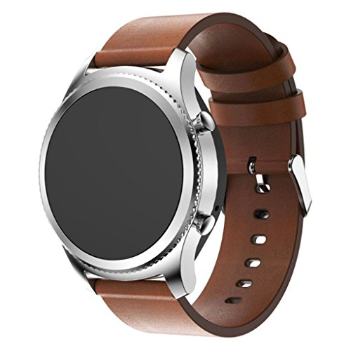 Teresamoon Watch Band Strap PU Leather Wristband For Samsung Gear S3 Frontier (BW)