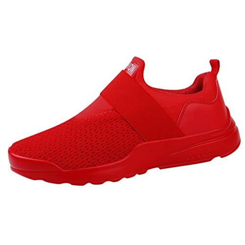 (Mens Athletic Shoes Hiking Boots Fashion Comfortable Elastic Running Sport Mesh Breathable Walking Footwear Red)