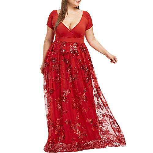 OldSch001 Women Plus Size Dresses,v-Neck Short Sleeve Floral Lace Sequined Evening Party Mesh Flowy Dress(Red,XXXL)