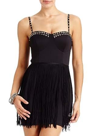 2B Kerry Fringe &Stud Dress 2b Night Dresses Blk-xl