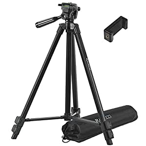 "Ravelli Light Weight Aluminum Tripod (APLT3 53"") Includes Universal Smartphone Mount"