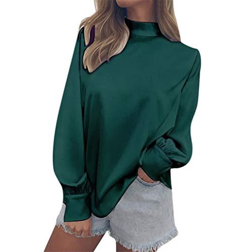 AIMEE7 Tops Vert Lanterne Manchon Haut Col Blouse Casual Chic Femmes Mousseline Chemisier rgvw1qC6r