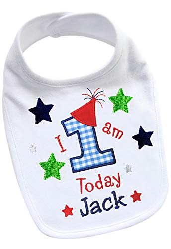Personalized 1st Birthday Bib - Handmade PERSONALIZED Baby Boy's FIRST BIRTHDAY Smash Bib Embroidered Unique CUSTOM Baby Gift (Navy Blue & Red)