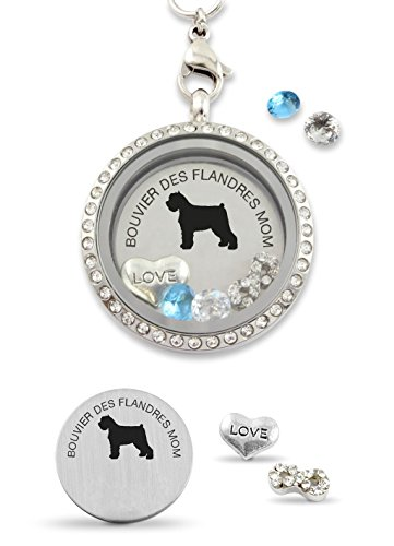 """""""Bouvier des Flandres Mom"""" Infinity Love Dog Floating Charm Living Memory Locket Magnetic Closure 30mm Stainless Steel Pendant Necklace ()"""