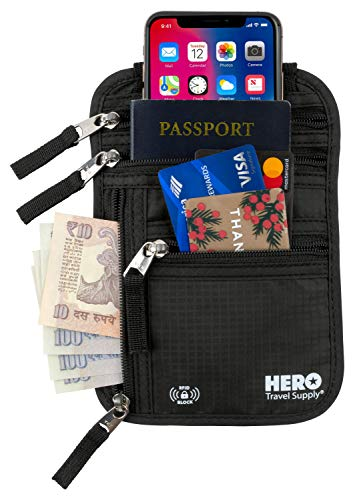 HERO Neck Wallet Travel Pouch Pickpockets