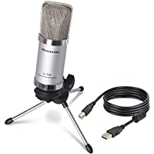 Alvoxcon USB Microphone, Unidirectional Condenser Mic for Computer, PC (Mac/Windows), Podcasting, Vlog, YouTube, Studio Recording, Skype, Stream, Voice Over, Vocal Dictation with Desktop Tripod Stand