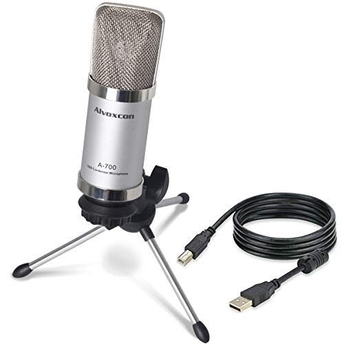 (USB Microphone, Alvoxcon Unidirectional Condenser Mic for Computer, PC (Mac/Windows), Podcasting, Vlog, YouTube, Studio Recording, Skype, Stream, Voice Over, Vocal Dictation with Desktop Tripod Stand)