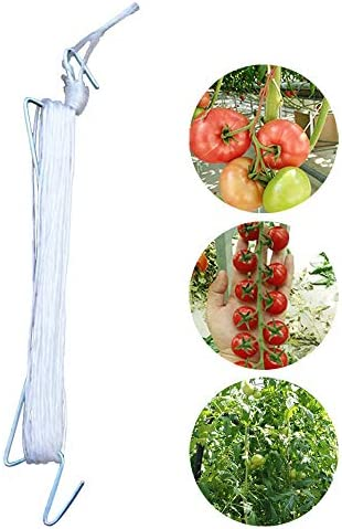 XHONG Tomatenhaken, 10 Stück Tomatenhaken, Tomatenhaken, Rankgitter, 10 m Seil