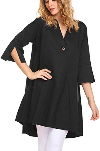 Shirt Women 3 Loose Sleeve Bulges Dress Line Black 4 High Collar Short Down Turn A Low OwpnpqAdI