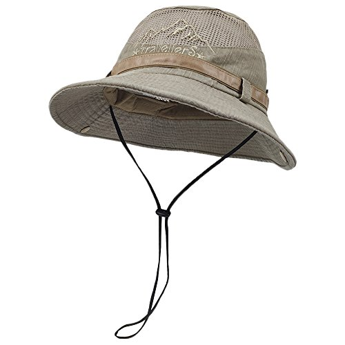 LETHMIK Fishing Sun Bucket Hat Summer Boonie UV Protection Safari Cap Outdoor Hunting Hat (Crushable Bucket)