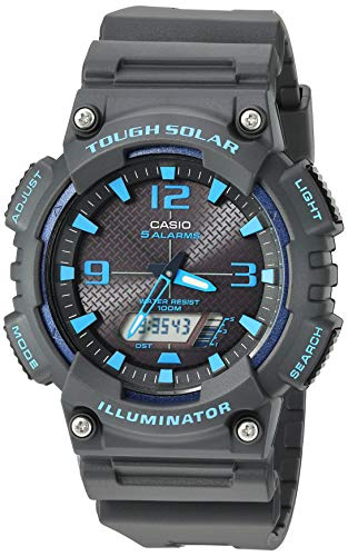Casio Men's Tough Solar Stainless Steel Quartz Watch with Resin Strap, Black, 27.5 (Model: AQ-S810W-8A2VCF)