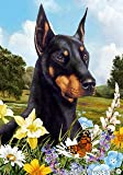 "Doberman Black/Tan Cropped Dog – Tamara Burnett Summer Flowers House Dog Breed Flag 28"" x 40"" For Sale"