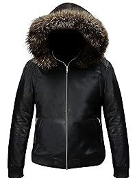 Mens Silver Fox Fur Black Leather Jacket