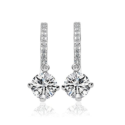 [YuanS Shaped Plating White Gold Inlaid Cubic Zirconia Hoop Dangle Earrings for Women] (Simple Halloween Costumes For High School)