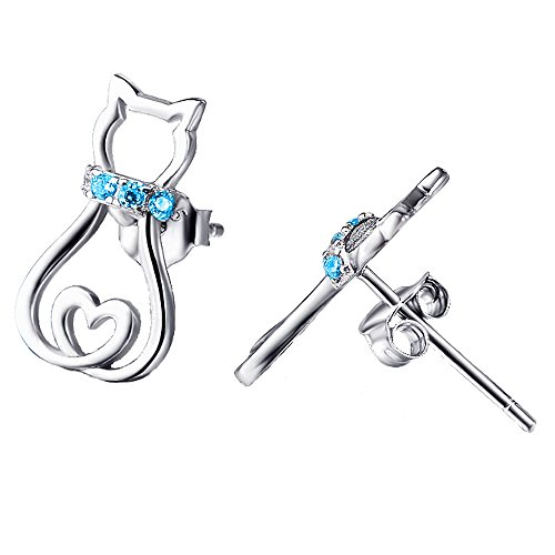 Charming Cat Jewelry 925 Sterling Silver Cute Pet Cat Stud Earrings For Women Ladies (Blue)